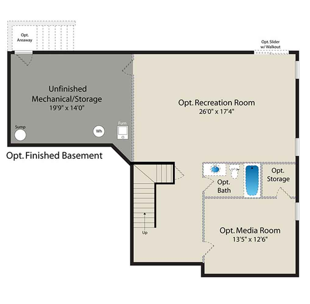 Floor plans barry andrews homes for Basement finishing floor plans
